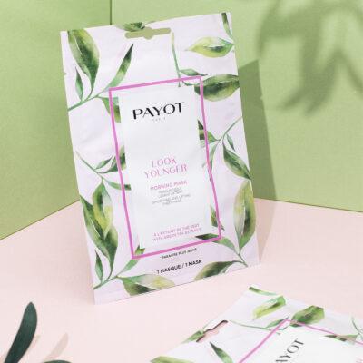 Payot Morning Mask Look Younger avec fond vert et rose
